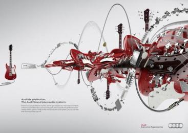 Audi Sound plus: Guitar Print Ad by Kempertrautmann Hamburg
