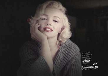 Hospitalar Health Insurance: Marylin Monroe Print Ad by Giacometti M\Leite