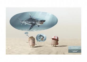 Acadomia: Shark Print Ad by Les Gaulois