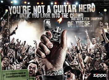 Zippo Pocket Lighter: Guitar hero Print Ad by Brunner Pittsburgh