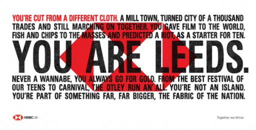 HSBC: We Are Not An Island - You Are Leeds. Outdoor Advert by J. Walter Thompson London, PHD London