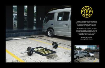 Gold's Gym: Tough Parking Lot Ambient Advert by Celsius Jakarta