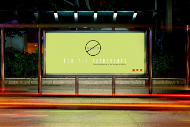 Netflix: For the Extroverts: Shortest show in the history of Netflix, 6 Outdoor Advert by Side Project, USA
