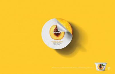Odyssey Greek Yogurt: Peach Print Ad by STIR Milwaukee