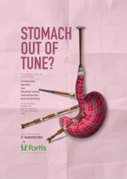 Fortis: Bagpipe - Stomach Print Ad by Grey Mumbai