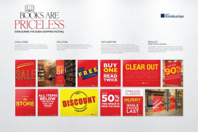 Kinokuniya Book Stores: BOOKS ARE PRICELESS Design & Branding by J. Walter Thompson Dubai