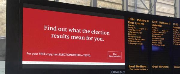 The Economist: British Election Campaign, 1 Outdoor Advert by Proximity London