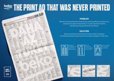 Beko: Never Printed Print Ad [presentation image] Print Ad by Mccann Istanbul