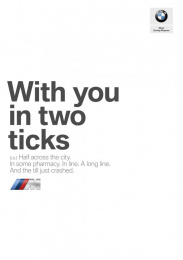 BMW: With You In Two Ticks Print Ad by Bates Lisbon