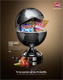 Malaco: Malaco Secret Candy Compartments, 2 Print Ad by King