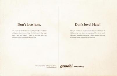 Gandhi Bookstores: Love Print Ad by Ogilvy Johannesburg