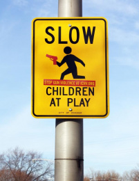 Illinois Council Against Handgun Violence: Warning Signs, Children Playing Outdoor Advert by Y&R Midwest Chicago