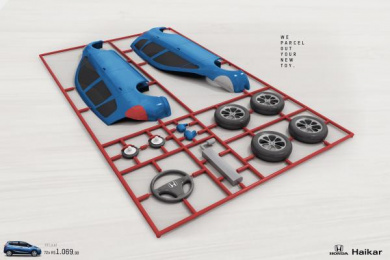 Honda Haikar: We parcel out your new toy Print Ad by Box Goiania Brazil