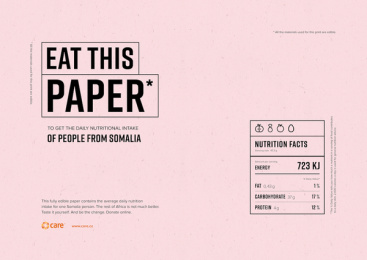 Care International: Eat This Paper Print Ad by Kindred