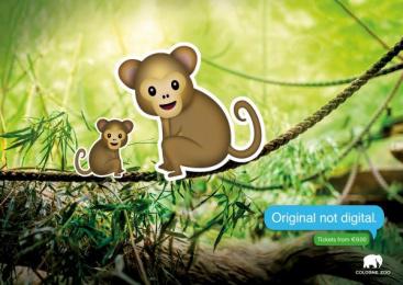 Zoo Cologne: Monkeys Print Ad by Preuss Und Preuss Germany