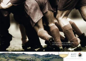Consortium For The Protection And Promotion Of Italian Sweet Sparkling Wine Asti: RUGBY Print Ad by Red Cell