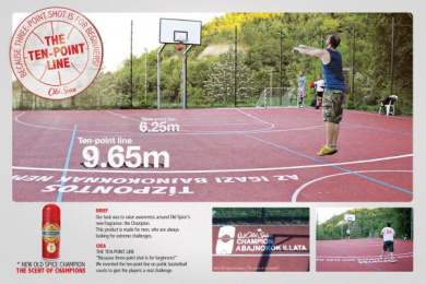 Old Spice Champion: The 10 point line Ambient Advert by Isobar Budapest