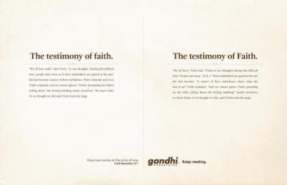 Gandhi Bookstores: Testimony Print Ad by Ogilvy Johannesburg