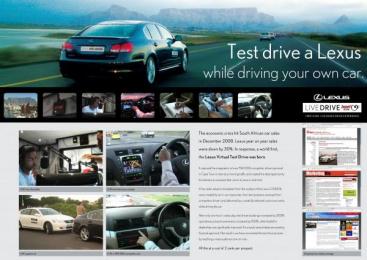 Lexus Gs 450h: LEXUS LIVE DRIVE Print Ad by DraftFCB Johannesburg