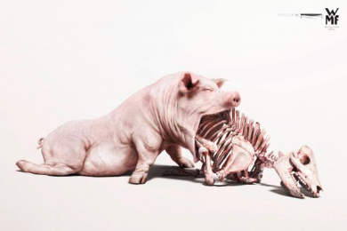 WMF Kitchen Knives: Pork Print Ad by Illusion, McCann Bangkok